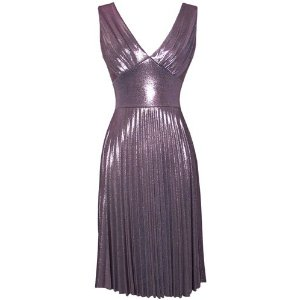 Pleated Metallic Stretch Party Cocktail Dress For Women