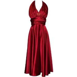 Marilyn Satin Halter Cocktail Dress For Women