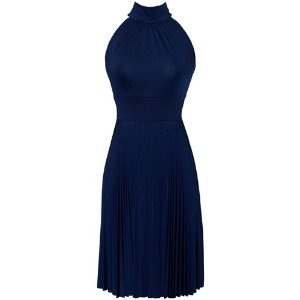 Pleated Tie Neck Sleeveless Cocktail Dress For Women