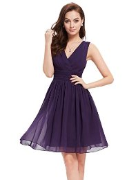 Ever Pretty Double V-Neck Ruched Waist Short Cocktail Party Dress