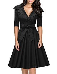Missmay® Womens Classy 1950's V-neck Rockabilly Swing Bridesmaid Dress Black