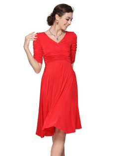 Ever Pretty 3/4 Sleeve Ruched Waist Classy V-Neck Casual Cocktail Dress