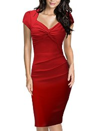 Miusol® Women's Cap Sleeve Ruched Classy V-Neck Business Casual Cocktail Dress