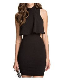 COSIVIA Top Overlay High Neck Little Black Dress