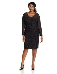 NY Collection Women's Plus-Size Long Sleeve Illusion Dress