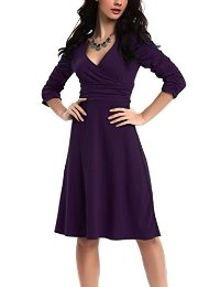 Fortric Women 3/4 Sleeve Ruched Waist Classy V-Neck Casual Cocktail Dress