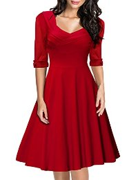 Miusol® Women's Retro Hepburn Style Half Sleeve Swing Bridesmaid Dress