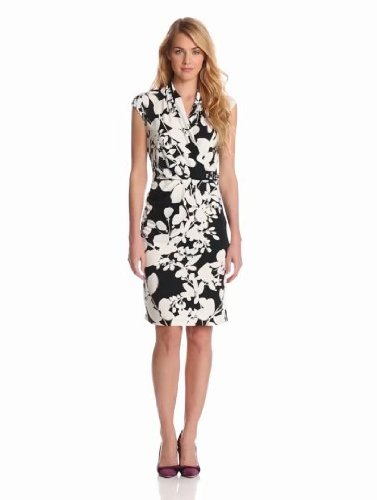 Cocktail Dresses for Women over 50 - Jones New York Women's Floral Surplice Dress with Side Ruched Embellishment